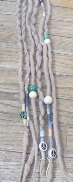 6 SE Blond Hippie Peace Sign Wool Dreads Dreadlock extensions, decorated with wood beads, hemp wraps and peace signs