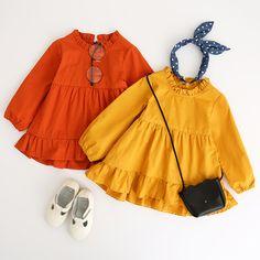 My Little pumpkin dress. Kids Dress Wear, Frocks For Girls, Little Girl Dresses, Kids Wear, Dress Girl, Baby Girl Fashion, Toddler Fashion, Kids Fashion, Fashion Clothes