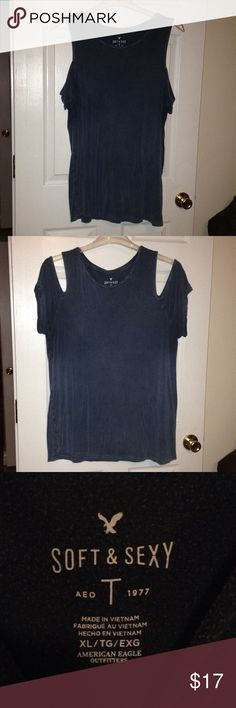 AE tee AE washed blue soft & sexy tee with the shoulders cut out. American Eagle Outfitters Tops Tees - Short Sleeve