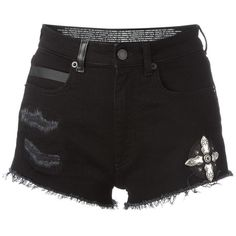 Marcelo Burlon County Of Milan frayed denim shorts (£300) ❤ liked on Polyvore featuring shorts, black, distressed jean shorts, destroyed jean shorts, destroyed denim shorts, zipper shorts and ripped shorts