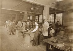 This photograph features women in a woodworking class, ca. 1900.