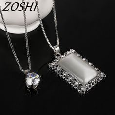 ZOSHI Long Necklaces Crystal Women Necklace Jewelry 2017 Fashion Silver Color Chain Square Maxi Necklaces Pendants Collier #Affiliate