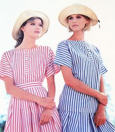 Looking back at Summer 1984- Laura Ashley's classic striped cotton skirts with matching tops.