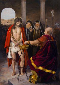 Título: Jesús es condenado a muerte. Año: 2016. Técnica: Óleo sobre lienzo, 81 x 116 cm. Descripción: I Estación de Vía Crucis para Guatemala.