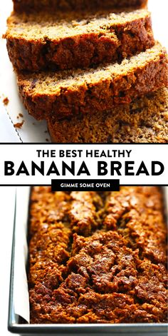 The Best Healthy Banana Bread Recipe It's Easy To Make, Naturally Gluten-Free Made With Oat Flour And Dairy-Free Coconut Oil Instead Of Butter, And Full Of The Best Banana Flavors Enjoy While It's Nice And Warm, Or Freeze The Leftovers For Later. Best Healthy Banana Bread Recipe, Healthy Bread Recipes, Banana Bread Recipes, Healthy Baking, Healthy Desserts, Oat Flour Recipes, Vegetarian Sweets, Oat Flour Flatbread Recipe, Healthy Breakfast Breads