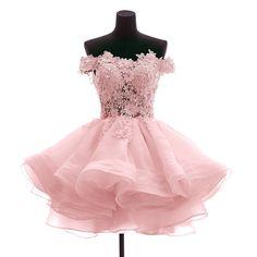 Aliexpress.com: Comprar Mzyw0055 hombro del cordón del top applique puffy falda corta del vestido de vestido del remiendo fiable proveedores en Meng Zhi Yuan Wedding Dress Store