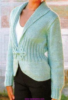 Knitted Cardigan Crochet Border Jacket Sleeve Bolero Shrug Made to Order. Knitting Designs, Knitting Patterns Free, Knit Patterns, Free Knitting, Free Pattern, Knitting Needles, Gilet Crochet, Knit Crochet, Knit Jacket