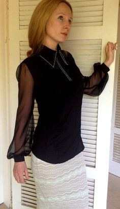 New Elegant and Interesting Black Blouse Valeria of crepe Shiffon and Transparent Shiffon Black Blouse, Sewing Ideas, Sequin Skirt, Sequins, Elegant, Skirts, Stuff To Buy, Fashion, Classy