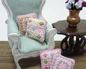 Little crochet pillow for dollhouse scale 1:12, miniature granny square cushion in pink and colors