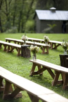 Benches for ceremony/celebration instead of seats? Read more - http://www.stylemepretty.com/2011/08/29/shadow-lawn-wedding-by-mel-barlow-co/