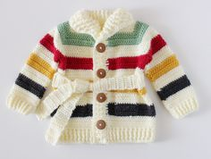 Crochet For Babies Crochet Hudson's Bay Baby Sweater Pattern Crochet Baby Sweater Pattern, Crochet Baby Sweaters, Baby Sweater Patterns, Crochet Baby Clothes, Crochet Cardigan, Baby Knitting, Beanie Pattern, Blanket Crochet, Moda Crochet