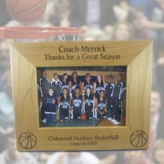 Dixie Midwest - Basketball Coach Gift Personalized Picture Frame - Custom Engraved
