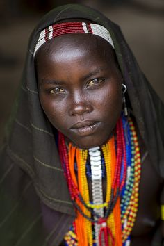 Portrait Of Beautiful Erbore Tribe Woman Wearing Beaded Necklace, Omo Valley, Ethiopia © Eric Lafforgue Eric Lafforgue, Tribal Women, Tribal People, African Tribes, African Women, We Are The World, People Around The World, Beautiful Black Women, Beautiful People