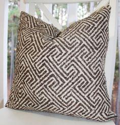 Decorative Designer Pillow  Brown Geometric Pillow by MotifPillows, $40.00