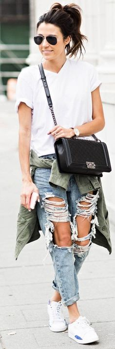 White Sneakers, White Tee, Distressed Denim, Chanel Boy Bag, Green Army Jacket | 3 Ways To Wear Your Favorite Seakers From Day To Night | Hello Fashion #white