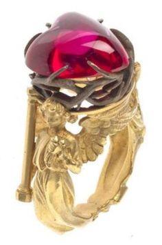 A Symbolist gold and ruby ring, by Jules Brateau, Paris, circa 1914. Brateau…