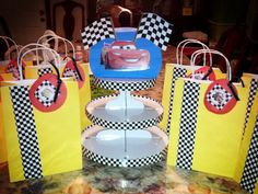 Lukas 3rd Birthday Cars Themed Goody Bags And Cupcake Stand