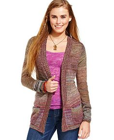 American Rag Juniors Sweater, Long Sleeve Striped Cardigan - Juniors Sweaters - Macy's