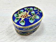 Vintage Cobalt Blue Floral Trinket Box, Chinese Cloisonne Enamel Trinket Box, Brass Pill Box, Small Ring Box, 1960s Asian Art Home Decor by RedGarnetVintage