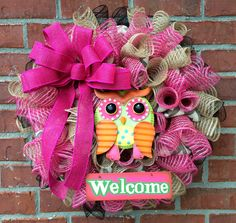 Owl Welcome Wreath by marinascustomdesigns on Etsy, $49.00