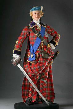 Full length color image of Bonnie Prince Charlie aka. Charles Edward Stuart, by George Stuart.