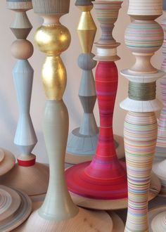 hand turned and painted lamp bases by Sarah Lock