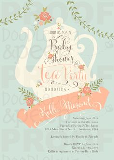 Tea Party Baby Shower Invitations Printed Tea by DoodlebugAndPeep