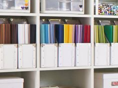 Put Paper in Magazine Holders - 12 Amazing Craft Room Ideas on HGTV. Credit: John Merkl. Stacks of letter-size colored paper look neat in white magazine holders from IKEA. TFS HGTV.