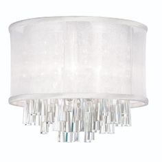 4LT Crystal Flush Mount w/WH Org. Shd : JOS144FH-PC-119 | Living Lighting Home Office