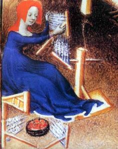 A 15th century woman combing wool for spinning Spinning on the Drop Spindle, or Rock http://www.goldgryph.com/bells/spinning/