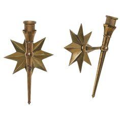 french 40u0027s brass star sconces