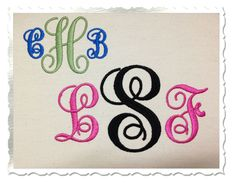 Fancy Curly Monogram Machine Embroidery Font Alphabet - 3 Sizes. $2.95, via Etsy.