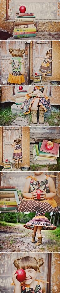 Darling! Photography by: simplyrosie.ca (Love the books & apple...great back to school session)