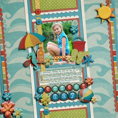 "1. Kit: ""Beach Days"" by Shabby Miss Jenn Designs  2. Template: ""Half Pack #14"" by Cindy Schneider"