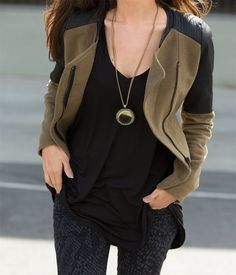 All black and army/olive green jacket.