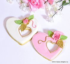 Gold-accent rose heart cookies.