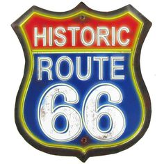 Historic Route 66 Embossed Tin Sign