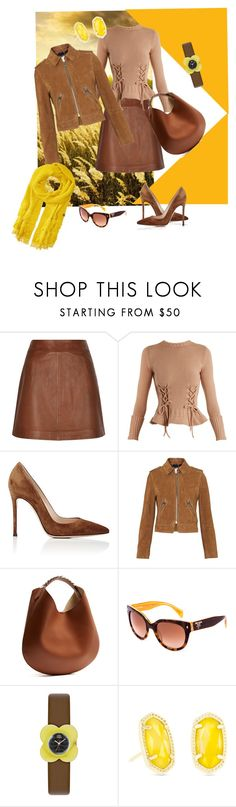 """""""Fields of Gold"""" by lindsaywassel ❤ liked on Polyvore featuring Reiss, Alexander McQueen, Gianvito Rossi, Whistles, Givenchy, Prada, Orla Kiely, Kendra Scott and Echo Design"""