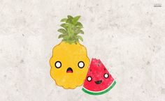 Pineapple and watermelon HD Wallpaper