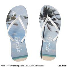 cdc698493 Palm Tree I Wedding Flip Flops Bride Beach Sandals Destination Wedding  Invitations