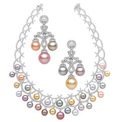 Yoko London Carnevale necklace & earrings 18kt gold set with diamonds, natural colour pink and orange freshwater pearls, gold Indonesian South Sea pearls, white Australian South Sea and grey and blue Tahitian pearls.