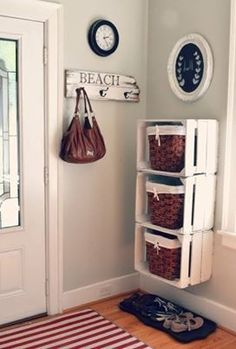 Crates as shelves - & The shoes underneath - Very Practical & Cute
