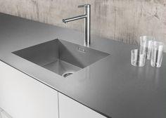 SteelArt-Arbeitsplatte BLANCO DURINOX, Edelstahl-Küchenarbeitsplatte, Becken BLANCO ZEROX