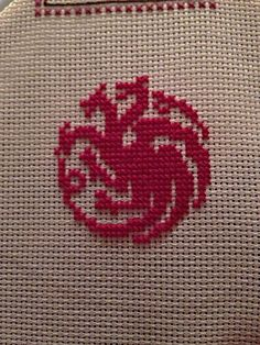 Started a new cross stitch project using Game of Thrones sigils. Finished my Targaryen dragon! #GoT