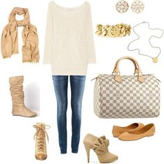 Fall Outfit to wear with Louis Vuitton Damier Azur Speedy 30 Bag by louise