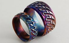 Titanium Rings, The Antiquity Bands with Comfort Fit Interiors. $290.00, via Etsy.