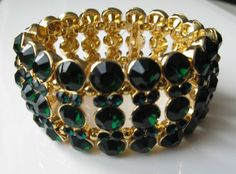 Emerald Green Crystal Bracelet by CharterJewellery on Etsy