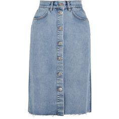 M.i.h Jeans Park denim midi skirt (12,890 PHP) ❤ liked on Polyvore featuring skirts, bottoms, denim midi skirt, calf length skirts, a line midi skirt, mid calf skirts and a-line skirt
