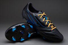 adidas Football Boots - adidas F50 adiZero TRX FG Leather - Firm Ground - Soccer Cleats - Black-Black-Solar Blue