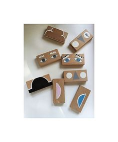 woodblocks / mix&match / emotions / hand painted